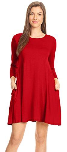 Womens T Shirt Dress Winter Dress with Pockets Jersey A Line Dress (Size Medium, Red 3/4 Sleeve)