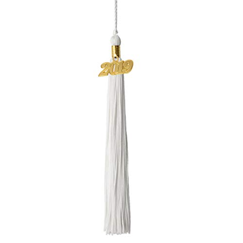 Class Act Graduation White Graduation Tassel with 2019 Gold Charm]()
