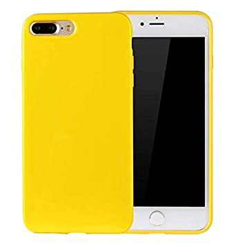 Funluna Funda iPhone 8 Plus/iPhone 7 Plus Silicona Colores Ultra Delgado Carcasa en Rubber, Amarillo