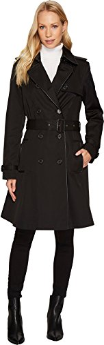 Womens Double Breast Faux Leather Trim Trench Black MD One Size (Leather Trim Trench Coat)