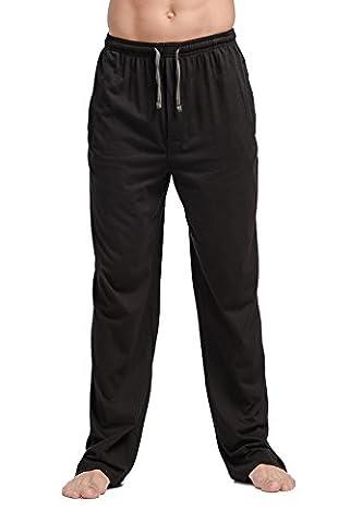 CYZ Men's 100% Cotton Jersey Knit Pajama Pants/Lounge Pants-Black-M - Flannel Pajama Pants Sleepwear