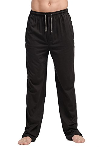 - CYZ Men's 100% Cotton Jersey Knit Pajama Pants/Lounge Pants-Black-M