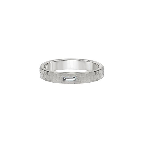 TousiAttar Baguette Diamond Ring - Hammered Solid 14k or 18k White Gold Bands Jewelry for Women - Free Personalized and Engraved Name and Initial