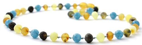 BoutiqueAmber Unpolished Baltic Amber Teething Necklace Made with Aquamarine Beads - Size 12.5 inches (32 cm) - Raw Multicolor Baltic Amber Beads (12.5 inches, Raw Multi/Aquamarine)