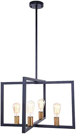 Lingkai Modern Kitchen Island Light 4-Light Chandelier Pendant Light Ceiling Lighting Fixture Industrial Matte Black