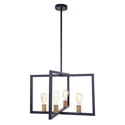 Lingkai Modern Kitchen Island Light 4-Light Chandelier Pendant Light Ceiling Lighting Fixture Industrial Matte Black with Antique Brass Finish