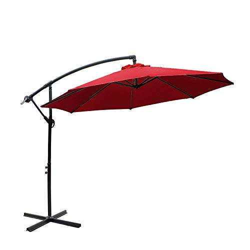 I-Choice 10 ft Offset Hanging Patio Umbrella Outdoor Garden Cantilever Offset Umbrella 8 Ribs W/Crank Lift Adjustment and Cross Base, Burgundy