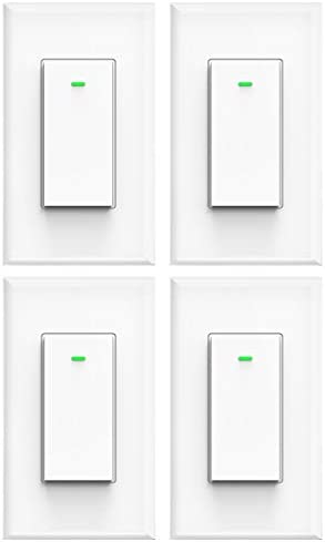 Smart light switch, Compatible with Alexa, Compatible with Google Assistant, No Hub Required, Smart Home WiFi Wireless, Suit for 1 2 3 4 Gang Switch Box, Neutral Wire Required, White Micmi 4pack