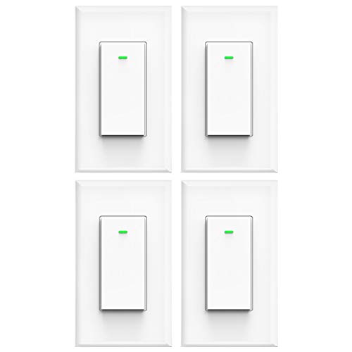 Smart light switch, works with Alexa, compatible with google assistant, IFTTT, No Hub Required, Smart home WiFi Wireless, Suit for 1/2/3/4 Gang Switch Box, Neutral Wire Required, White Micmi 4pack