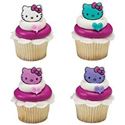 24 Count Hello Kitty Happy Everything Cupcake Cake Rings Party Favors