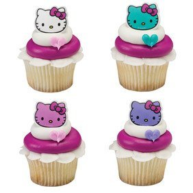 24 Count Hello Kitty Happy Everything Cupcake Cake Rings Party Favors - Hello Kitty Cupcake Toppers