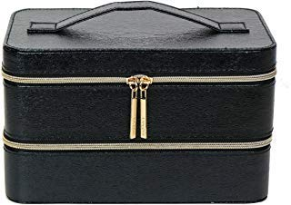 - Lancome Two Layers Cosmetic Synthetic Leather Train Case Box Organizer, Black in Semi Gloss Finish
