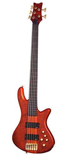 Schecter Stiletto Studio-5 Fretless Electric Bass (5 String, Honey (Neck Thru Body Bass Guitar)