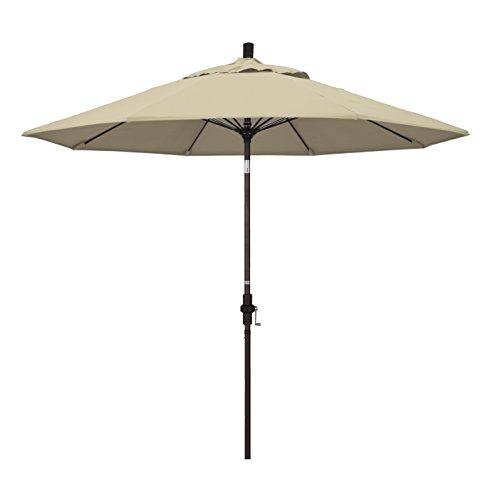 California Umbrella 9' Round Aluminum Pole Fiberglass Rib Market Umbrella, Crank Lift, Collar Tilt, Bronze Pole, Sunbrella Antique Beige