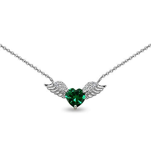 Sterling Silver Simulated Emerald & CZ Heart Angel Wings Necklace for Women, 15