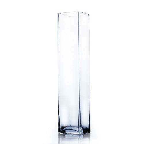 WGVI Clear Square Block Glass Vase/Candle Holder - 4