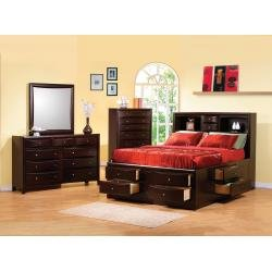 Phoenix California King Bookcase Storage Bedroom 4pc Set in Deep Rich Cappuccino Finish