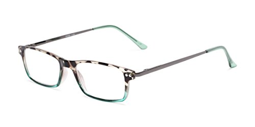 Readers.com | The Emerald +1.50 Tortoise and Teal Fade Rectangle Stylish Men's & Women's Full -
