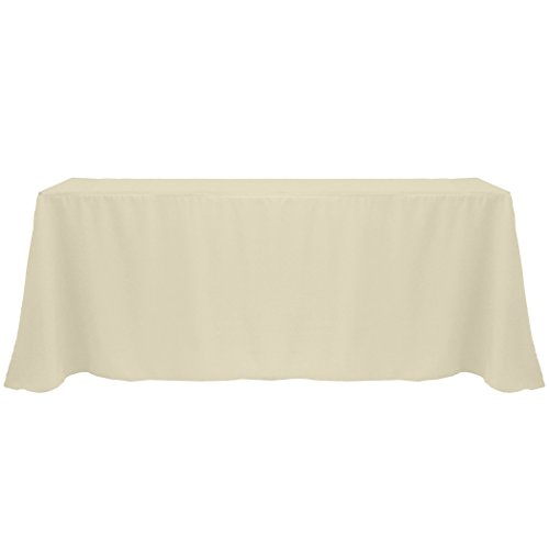 Ultimate Textile (3 Pack) 108 x 132-Inch Rectangular Polyester Linen Tablecloth with Rounded Corners - for Wedding, Restaurant or Banquet use, Tan Beige by Ultimate Textile