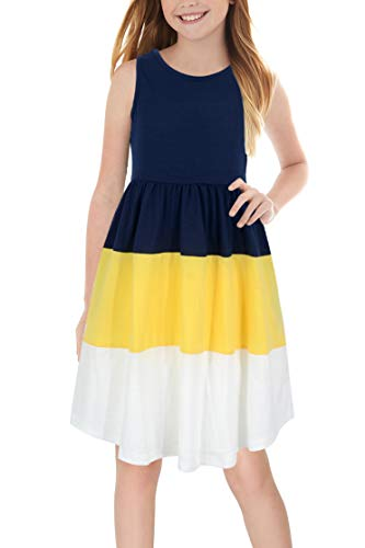 (GORLYA Girl's Sleeveless Triple Colorblock Patchwork Casual Summer Midi Dress with Pockets for 4-12 Years Kids (GOR1014, 9-10Y, Navy+Yellow))