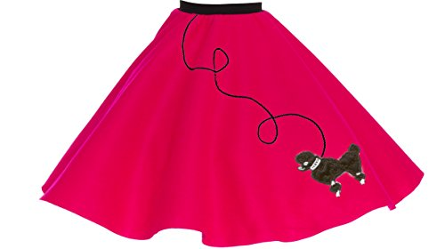 [Poodle Skirt for Girls (4/5/6, Magenta)] (Homemade Magenta Costume)