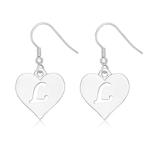 SENFAI Heart Shaped Single Initial Alphabet Letters Personalized Charms Dangle Earrings Rhodium Plated (L3) (Personalized Heart Charm Ring)