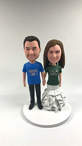 NY Giants Groom NY Jets Bride Personalized Wedding Cake Topper Giants Wedding NY Giants Wedding Jets Wedding New York Jets Cake Topper