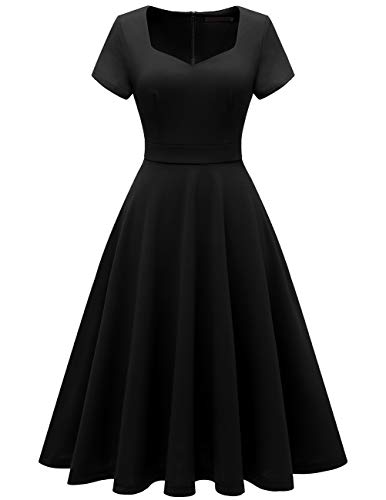 Bridesmay Women's V-Neck Vintage Tea Dress Prom Party Swing Cocktail Bridesmaid Midi Dress Black L