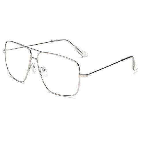 (Dollger Classic Glasses Clear Lens Non Prescription Metal Frame Eyewear Men Women Silver)