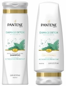 Pantene Pro-V Shampoo & Conditioner Set, Damage Detox with Mosa Mint Oil, 12 Ounce Each