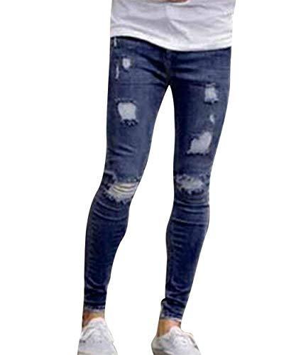 Pantaloni Cinturino Uomo Con Caviglia Ragazzo Blau1 Strappati Moda Alla Da Jeans Skinny pgn1wprRq