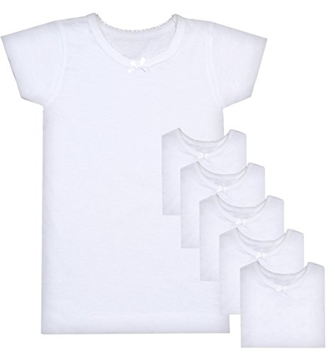 Sweet & Sassy Girls Crewneck Undershirt, White, X-Large/14-16 (Pack Of 6)' for $<!--$24.99-->