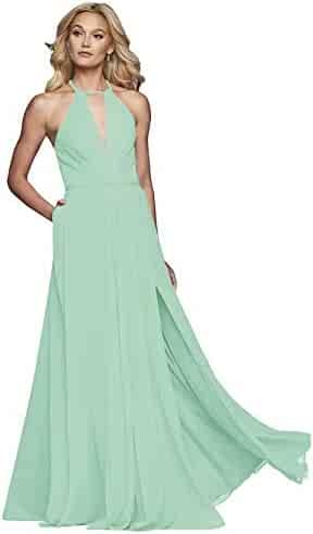 796b5ac9e5d70 Women's A-Line Ruched Chiffon Halter Keyhole Prom Dresses Long Split Formal  Evening Party with
