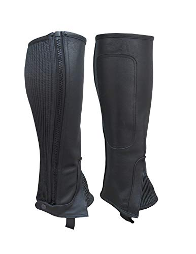 A&H Apparel Unisex Adult Leather Half Chaps Black and Brown (Black, - Half Chaps Adults