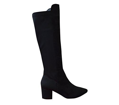 Maison Des Cadeaux New Ladies Winter Block Heel Wide Elastic Boot Black VC18hxf8I4