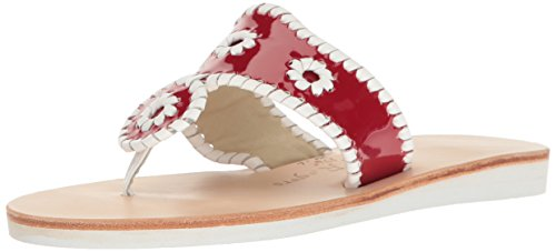 Jack Rogers Women's Boating Jacks Flat Sandal, Red/White, 8 M US