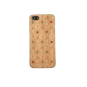 Mini - Lovely Rhinestone Flowers Pattern Wooden Hard Case for iPhone 5/5S