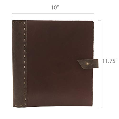 Rustic Leather Binder Handmade by Rustico in The USA, Handsewn,Thick, Rich Top-Grain Leather, 3 Ring Spine, 1.5