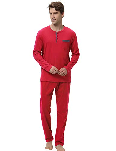 Hawiton Men's Pajama Pants Set 100% Cotton Long Sleeve Sleepwear Lounge (Y-Red, M)