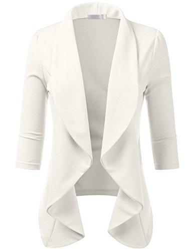 CLOVERY Women's 3/4 Sleeve Cotton No-Buckle Blazer Jacket Suits Ivory 2X Plus Size