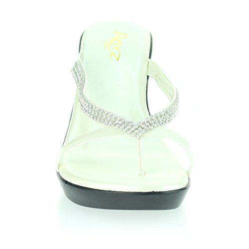 Mujer Señoras Diamante Dedo Del Pie DeLla Barra Ponerse Tacón De Cuña Diarion Casual Cómodo Fiesta Sandalias Zapatos Talla Blanco