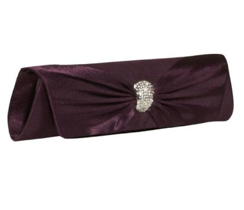 J. Furmani Satin Flap Clutch (Eggplant) (Furmani Satin Clutch)