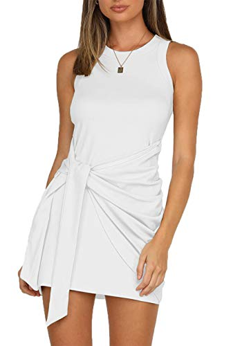 LIYOHON Women's Summer Short Dress Casual Crewneck Sleeveless Solid Color Ruched Tie Waist Bodycon Tank Mini Dresses White-XL