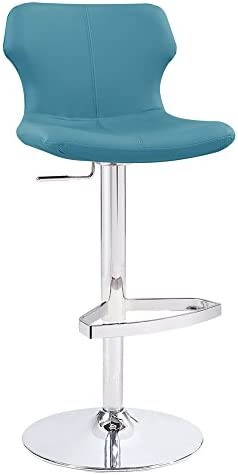 Zuri Furniture Modern Adjustable Leatherette Ellery Bar Stool with Chrome Base- Teal
