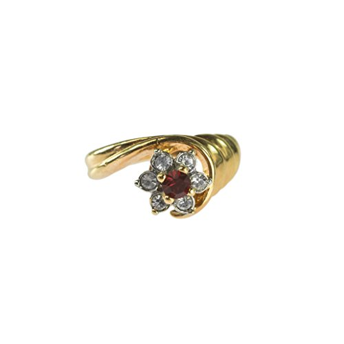 (Providence Vintage Jewelry 1980's Ruby and Clear Swarovski Crystal 18k Gold Electroplated Ring)