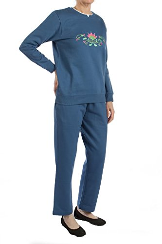 Pembrook Women's Embroidered Fleece Sweatsuit Set-XL-Navy
