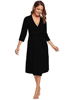 Sweetnight Womens Robe Cotton Robe Gowns Soft Kimono Robes Knit Bathrobe Comfort Sleepwear Loungewear Long