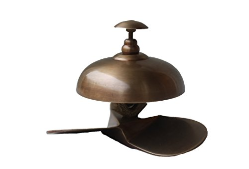 STREET CRAFT Solid Brass Antique Finesh Service Desk Bell ~ Hotel Counter Bell ,Ornate Solid Brass Hotel Counter Bell,Officer call bell by STREET CRAFT