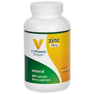 Zinc 50mg Supports Healthy Immune Function Eye Health, Highly Absorbable, Antioxidant Supplement Daily Serving, Gluten Dairy Free (300 Capsules) by The Vitamin Shoppe