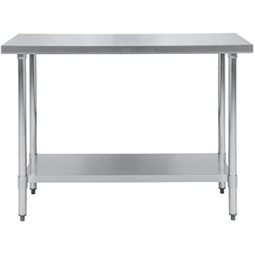Best Choice Products 48x24in Stainless Steel Food Prep Table for Commercial Restaurant Kitchen Use - Silver